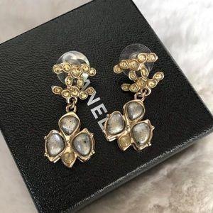 Chanel Gold CC Gripoix Silver Dangling Earrings